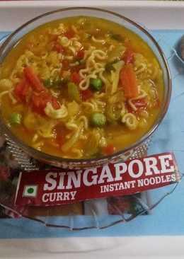 Singapore curry noodles soup