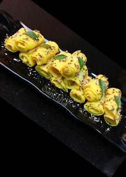 Coconut stuffed Mango Khandvi