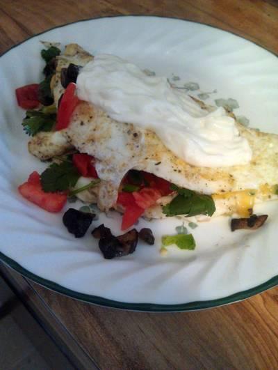 egg white, fresh tomato and cilantro omelet