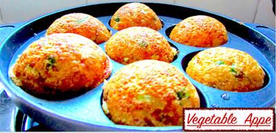 Instant Semolina Vegetable Appe/Paddu