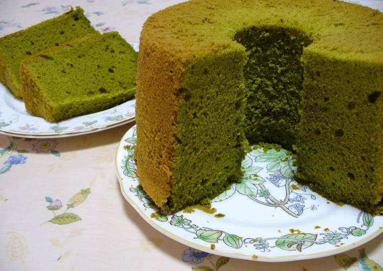Green Tea Cake Recipe Japanese: Green Tea Chiffon Cake Recipe By Cookpad.japan