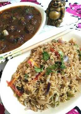 Veg Fried Rice And Manchurian