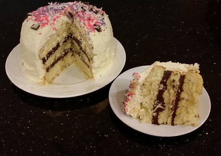 Vanilla Layer Cake with Whipped Chocolate Ganache Filling ...