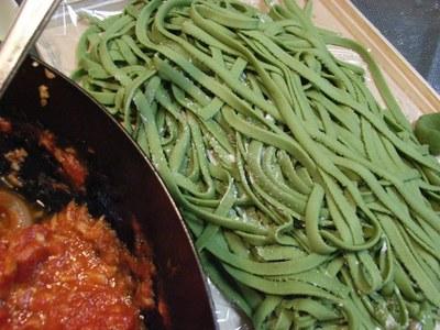 Handmade Spinach Fettuccine Pasta