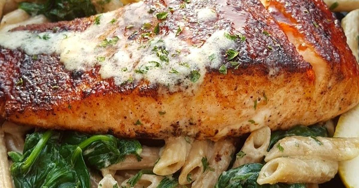 Bbq jerk salmon over pasta Recipe by That Girl Can Cook - Cookpad