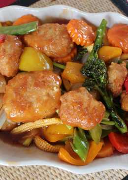Sweet and sour vegetables with crispy fish ball #chinesecooking
