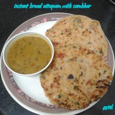 Instant bread uttapam with sambhar