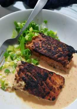 Pan roasted Salmon with creamy red pepper and jalapeno sauce