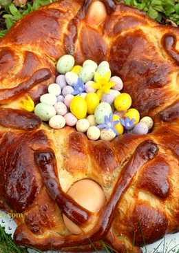 Italian Easter brioche with encased eggs
