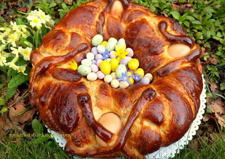 Italian Easter brioche with encased eggs