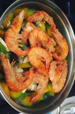 resep masakan thai prawns w coconut milk n vegetables