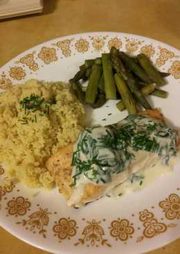 Baked Salmon with Spinach Mushroom Sauce