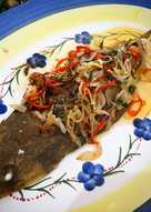 Whole baked fish with fragrant chilli onion oil