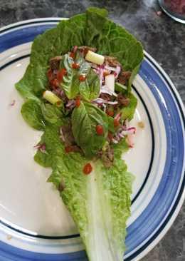 Pho-flavor flank steak lettuce wraps