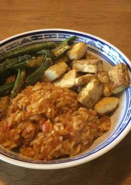 Jollof Rice, Fried Okra & Spiced Tofu