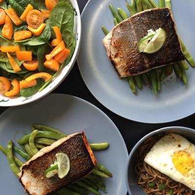 Pan Seared Salmon on Balsamic French Beans