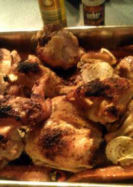 Sheryl`s beer can baked chicken with carrots,sweet peppers and onions