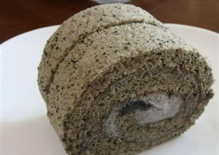 rich black sesame roll cake recipecookpadjapan  cookpad