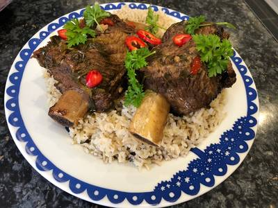 Slow cooked spicy beef rib
