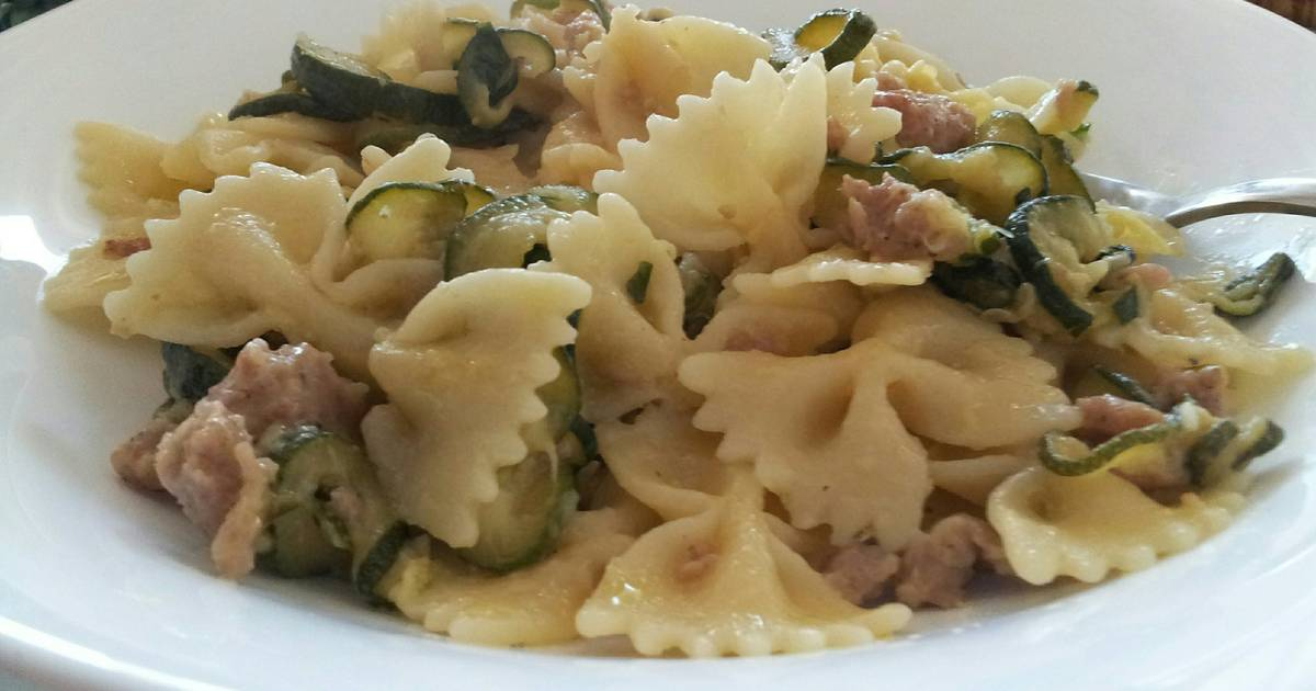 AMIEs Farfalle with Zucchini, Cream & Sausage Recipe by ...