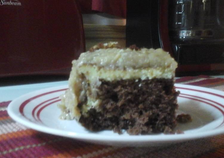 German chocolate cream cheese cake Recipe by Va Rose Cookpad