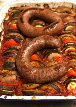 Farm shop wild boar and venison sausages on ratatouille