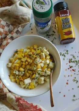Cottage cheese, corn & egg salad