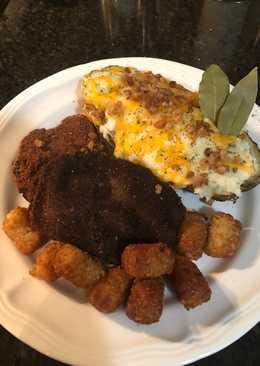 Leftover meatloaf and baked potato