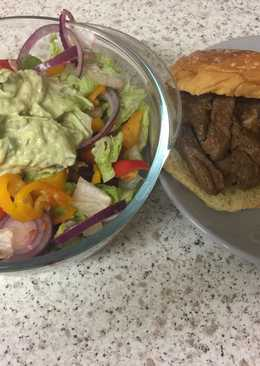 Garlic Fried Lamb and an Advacado garlic sauce salad