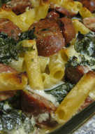 Baked Ziti with Kale and Sausage in Garlic-Parmesan Cream Sauce
