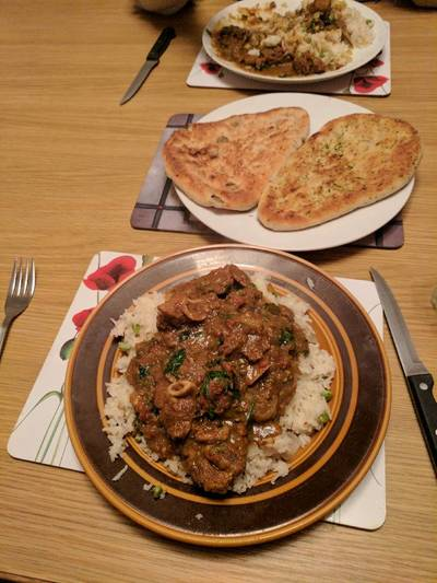 Punjabi Lamb curry served with rice