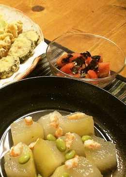 Shrimp Ankake Sauce on Chilled Winter Melon
