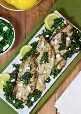Marinated grilled chicken with sauteed kale and spinach