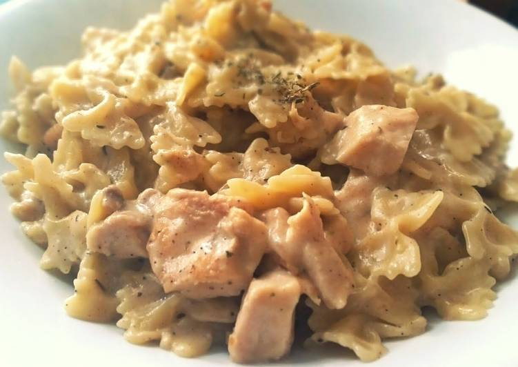 White Sauce Pasta With Chicken Leftovers