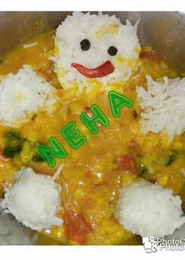 Simple dal rice with little Teddy