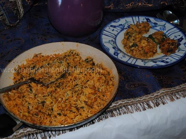 Persian spicy prawn with rice