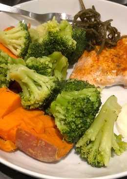Salmon and simple veg