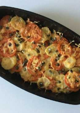 Potato Gratin with Tomatoes, Cheese and Capers