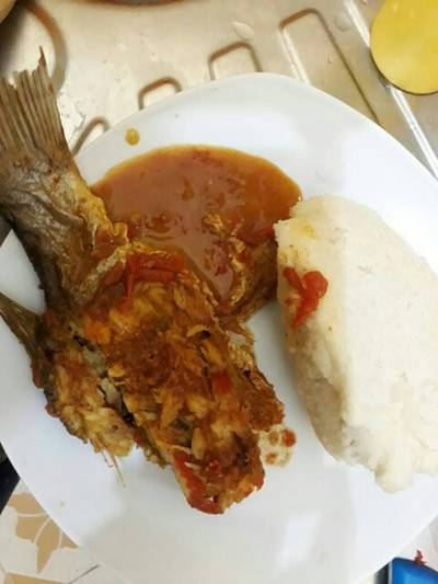 Fish curry served with Ugali
