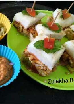 Thattey idli veggie and cheese stuffed mini sandwitches