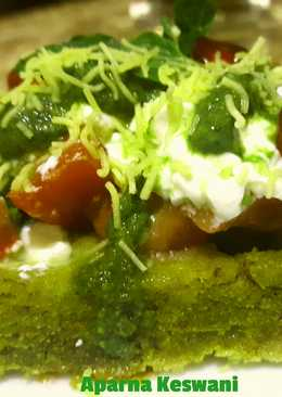Spinach waffles chaat