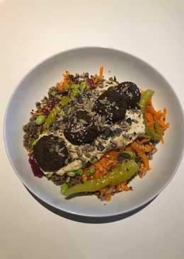 Vegan falafel, hummus bowl