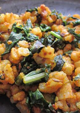 Dry Radish Veggie with Chickpea Flour: Moolya chi Peeth Perun Bhaji