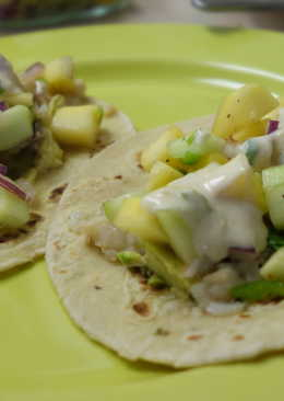 Fish tacos with mango salsa and yoghurt-lime sauce