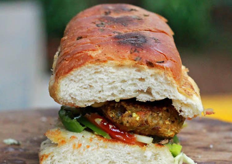 veggie patty subway sandwich recipe by foodomania cookpad. Black Bedroom Furniture Sets. Home Design Ideas