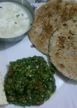 Harabhara bangan bhartha,bhakhri butter milk,papad