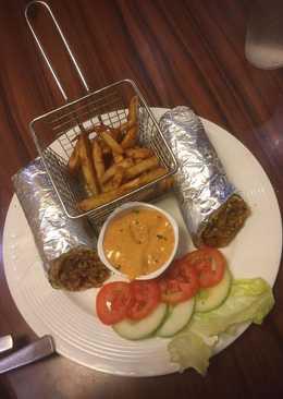 Veg Kathi Roll.Masala Fries.Makhani Gravy.With Salad