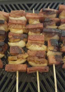 Spam Pineapple Onion Kabobs
