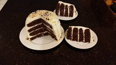 Mocha Layer Cake with Whipped Mascarpone Cream and a Coffee Glaze Drizzle