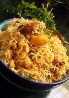 Coconut and tomatoes masala mutton biryani